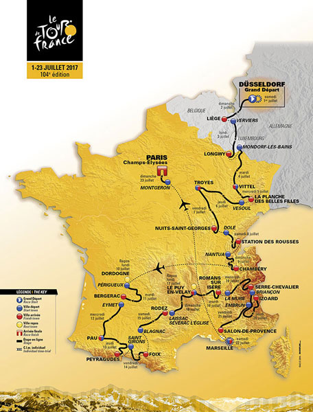 Le Tour DeFrance 2017 stage map